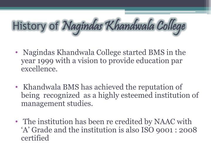 History of nagindas khandwala college