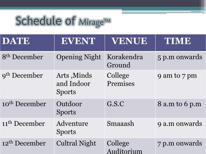 Schedule of