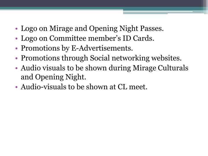 Logo on Mirage and Opening Night Passes.