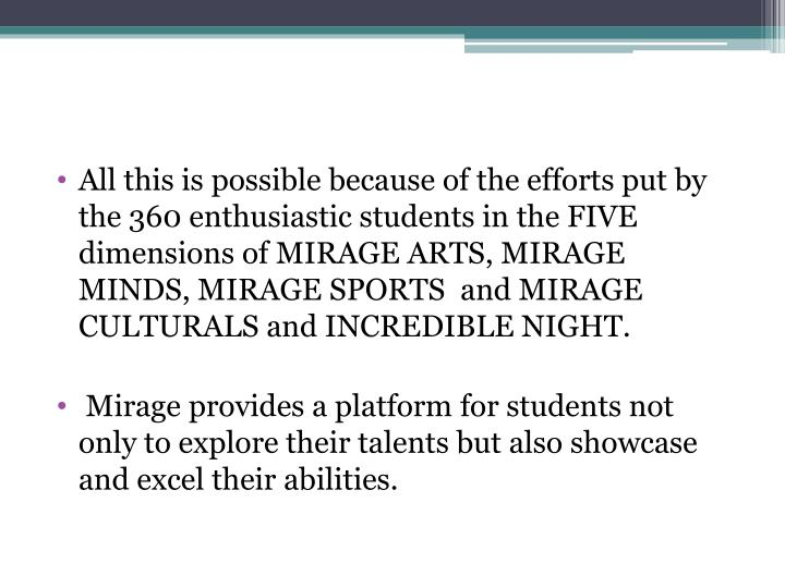 All this is possible because of the efforts put by the 360 enthusiastic students in the FIVE dimensions of MIRAGE ARTS, MIRAGE MINDS, MIRAGE SPORTS  and MIRAGE CULTURALS and INCREDIBLE NIGHT.
