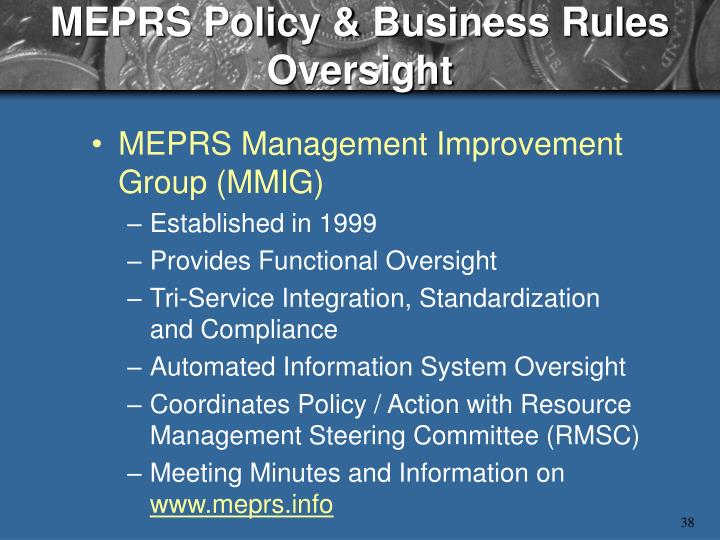 MEPRS Policy & Business Rules Oversight
