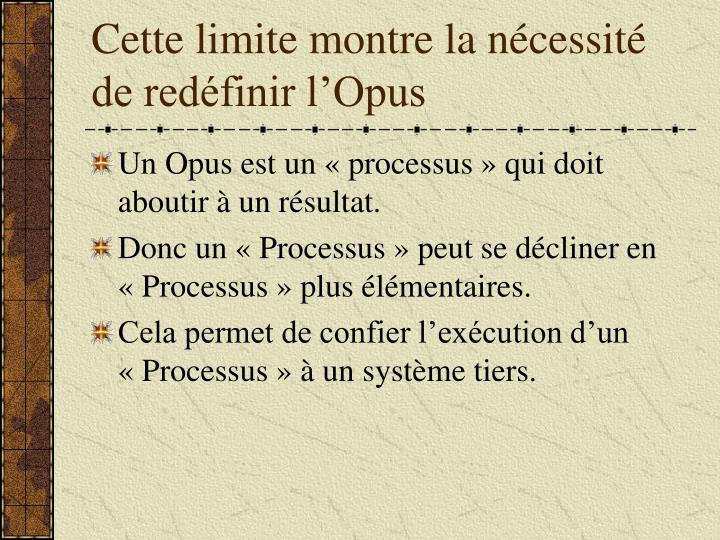Cette limite montre la nécessité de redéfinir l'Opus