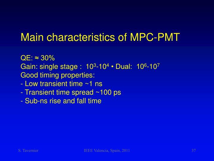 Main characteristics of MPC-PMT