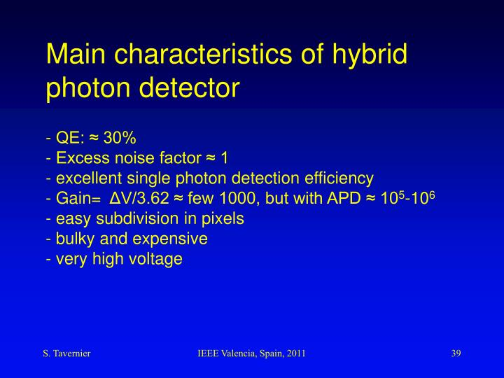 Main characteristics of hybrid photon detector