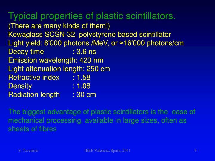 Typical properties of plastic scintillators.