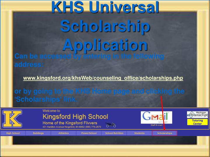 KHS Universal Scholarship Application