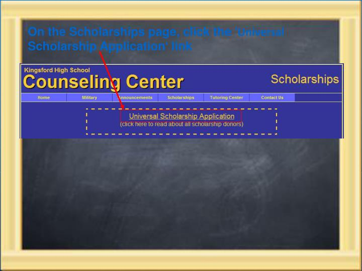 On the Scholarships page, click the