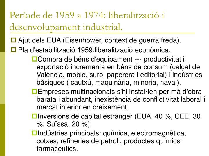 Període de 1959 a 1974: liberalització i desenvolupament industrial.