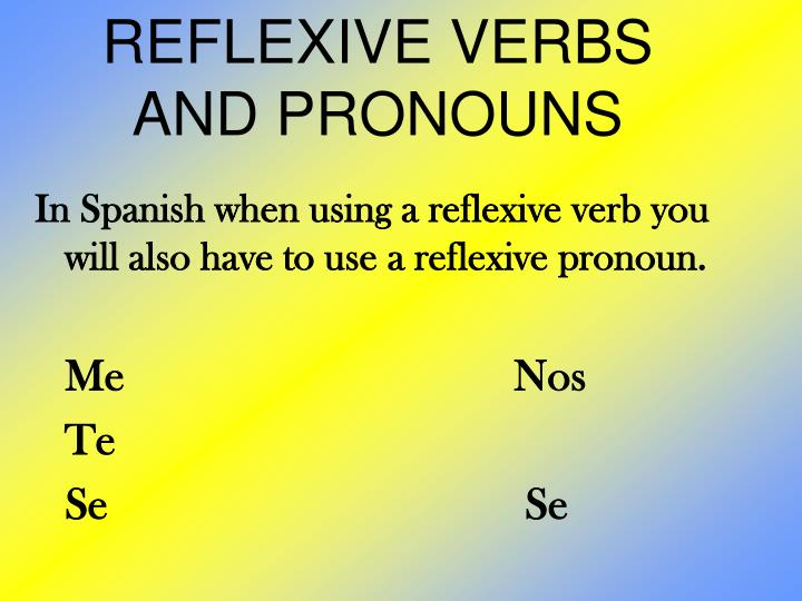 Reflexive verbs and pronouns1