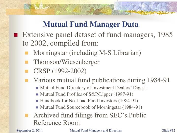 Mutual Fund Manager Data