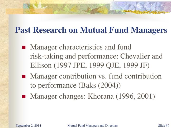 Past Research on Mutual Fund Managers