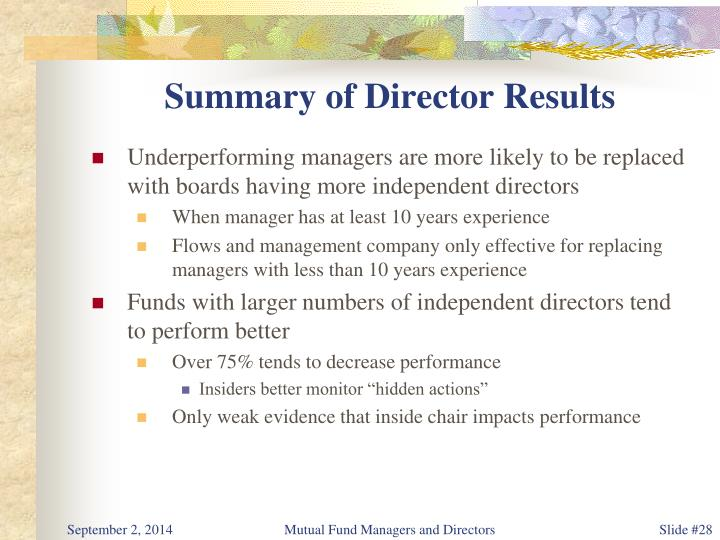 Summary of Director Results