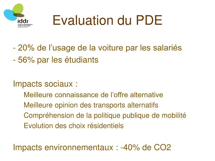 Evaluation du PDE