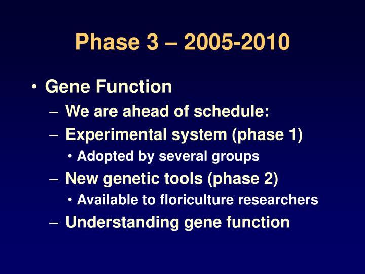 Phase 3 – 2005-2010