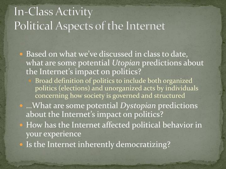 In class activity political aspects of the internet