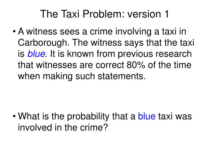 The Taxi Problem: version 1