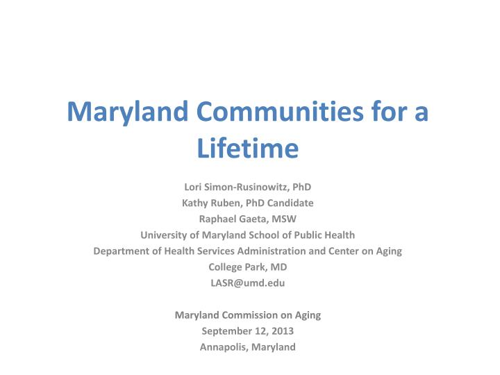 maryland communities for a lifetime n.