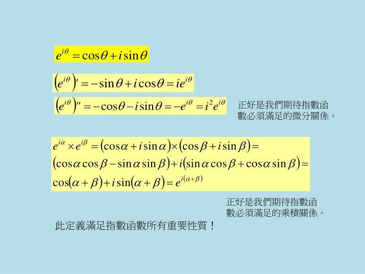正好是我們期待指數函數必須滿足的微分關係。