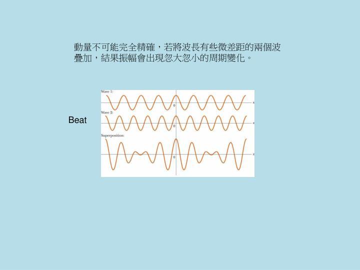 動量不可能完全精確,若將波長有些微差距的兩個波疊加,結果振幅會出現忽大忽小的周期變化。