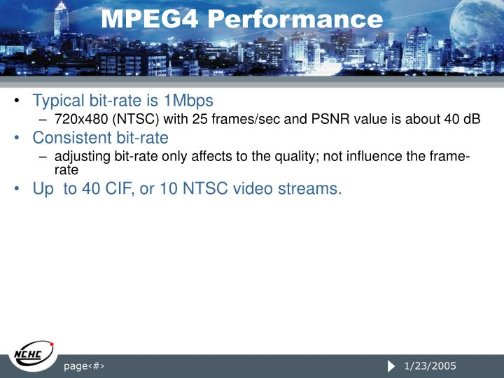 MPEG4 Performance