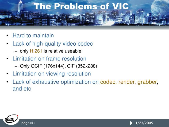 The Problems of VIC