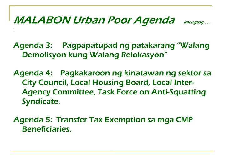 MALABON Urban Poor Agenda