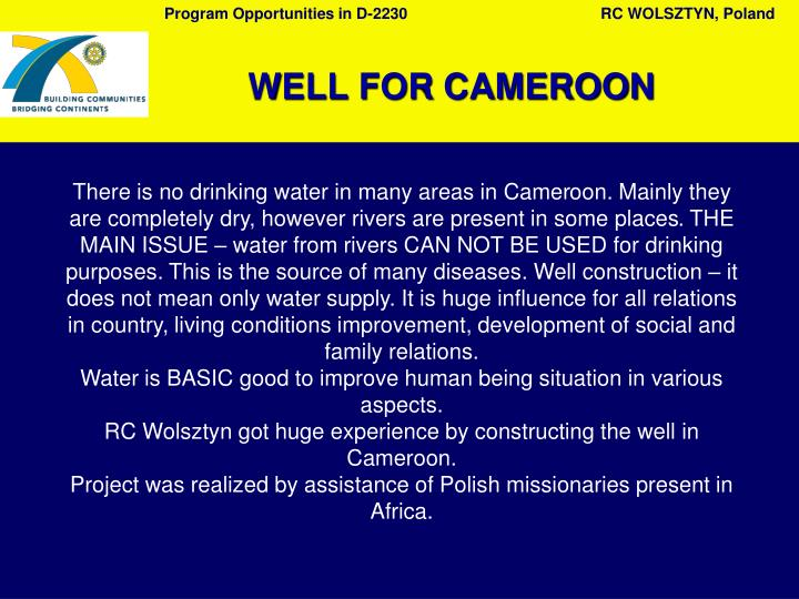There is no drinking water in many areas in Camer