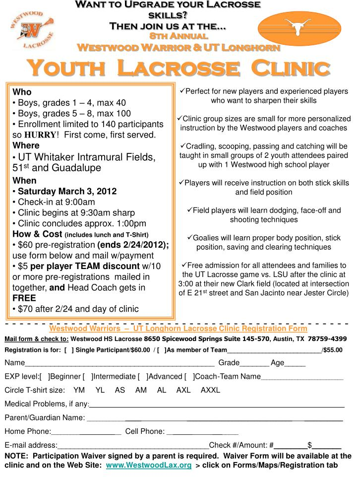 8th annual westwood warrior ut longhorn youth lacrosse clinic