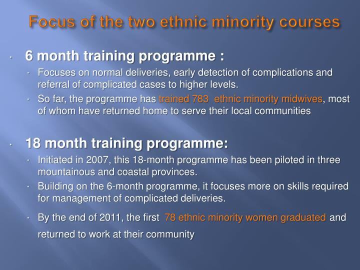 Focus of the two ethnic minority courses