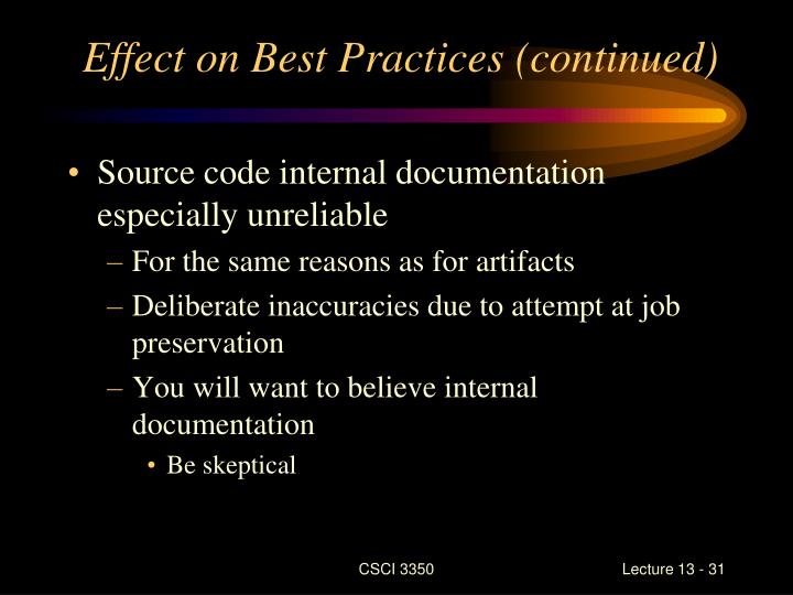 Effect on Best Practices (continued)