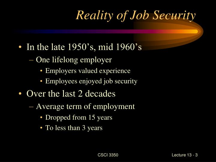 Reality of job security