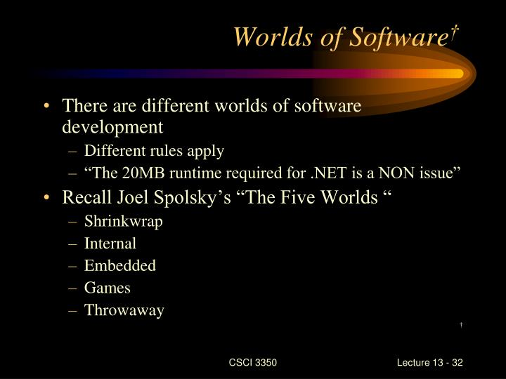 Worlds of Software