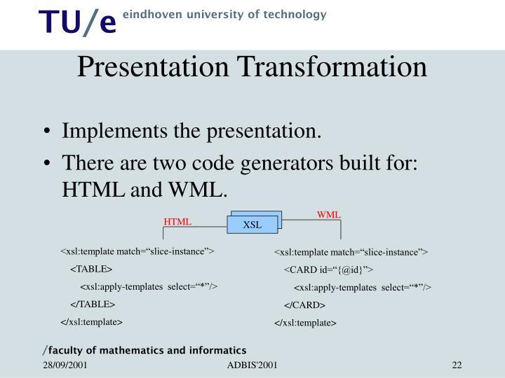 Presentation Transformation