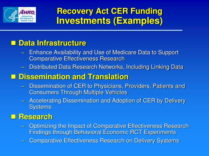 Recovery Act CER Funding