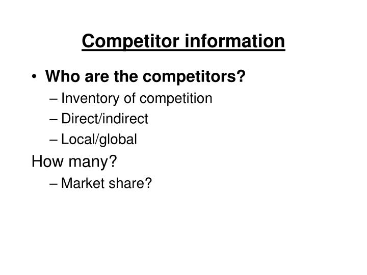 Competitor information