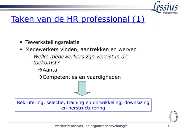 Taken van de hr professional 1