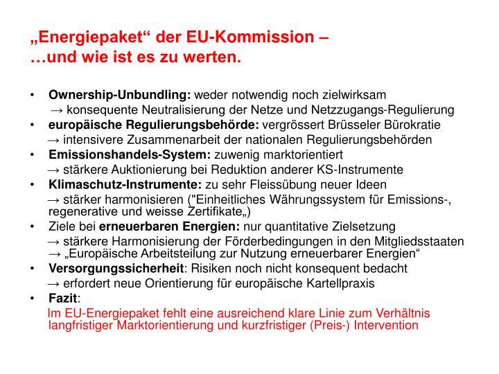 """Energiepaket"" der EU-Kommission –"