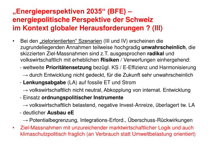 """Energieperspektiven 2035"" (BFE) –"
