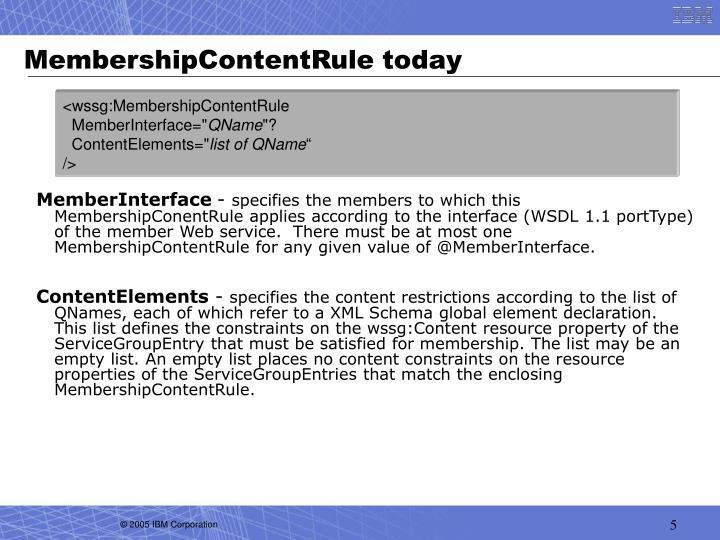 MembershipContentRule today