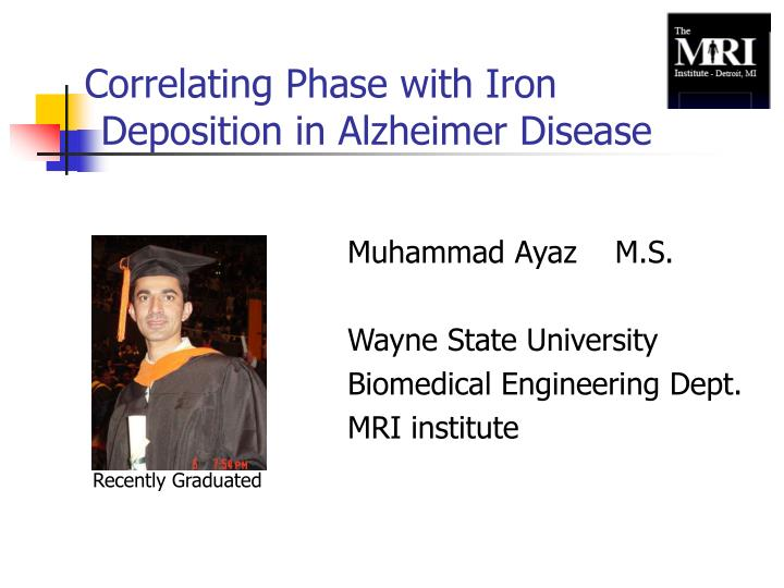 correlating phase with iron deposition in alzheimer disease n.