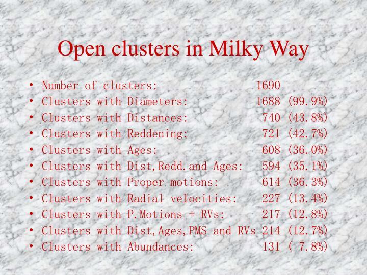 Open clusters in milky way