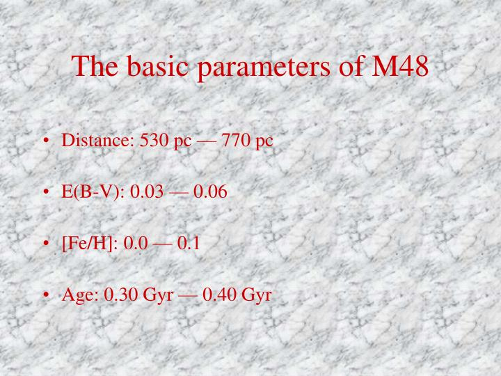 The basic parameters of m48