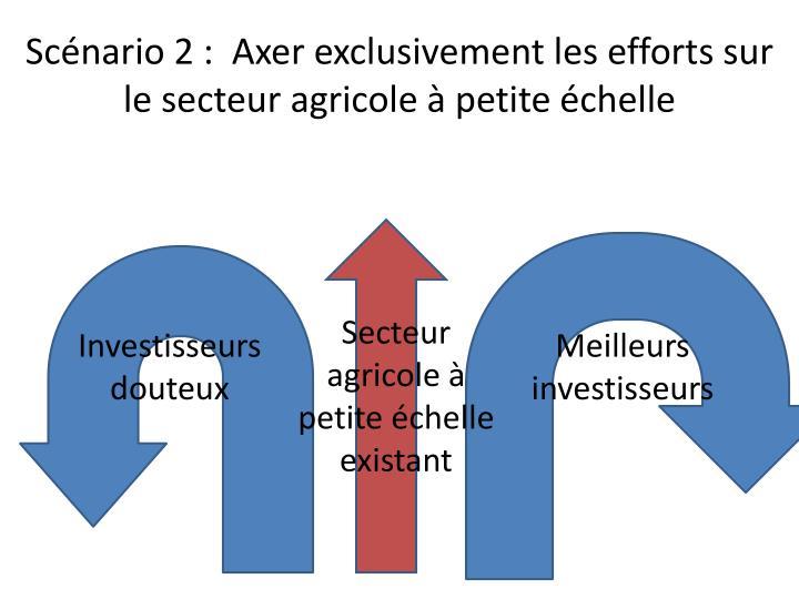 Scénario 2 :  Axer exclusivement les efforts sur le secteur agricole à petite échelle