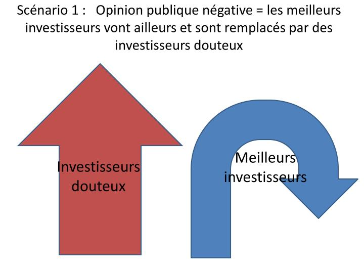 Scénario 1 :   Opinion publique négative = les meilleurs investisseurs vont ailleurs et sont remplacés par des investisseurs douteux