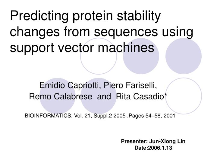 Predicting protein stability changes from sequences using support vector machines