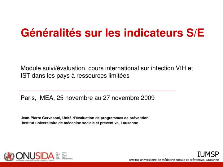 g n ralit s sur les indicateurs s e n.