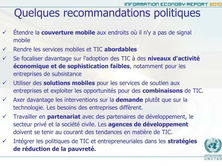Quelques recommandations politiques