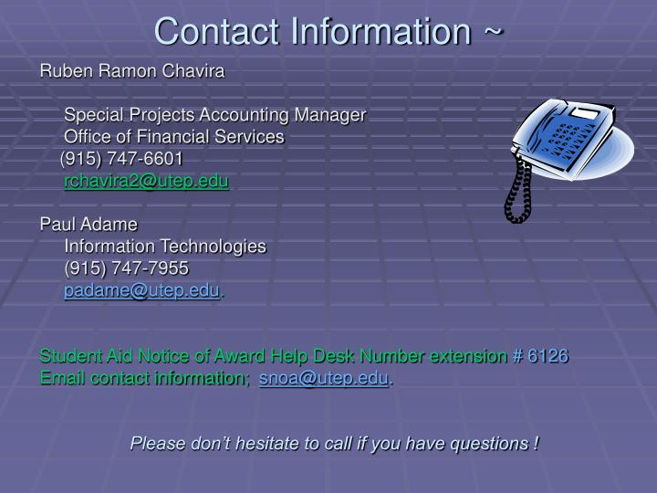 Contact Information ~