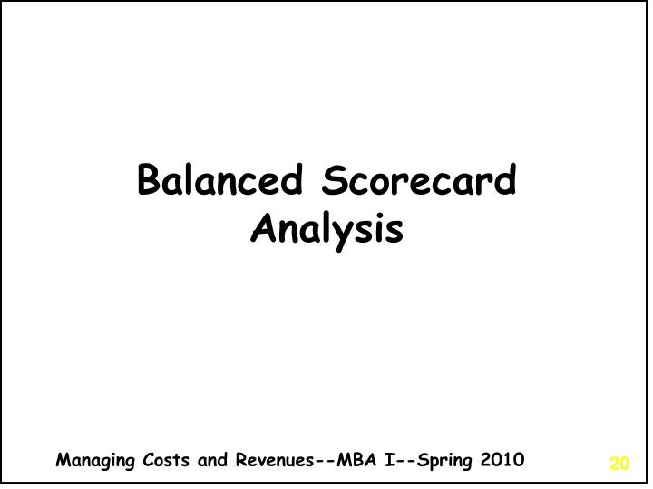 Balanced Scorecard Analysis