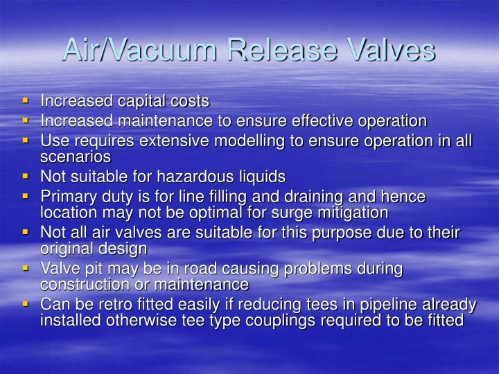 Air/Vacuum Release Valves